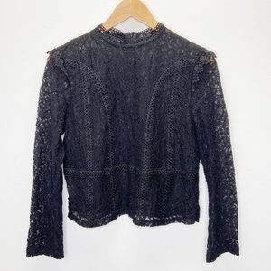 Zara Black Crochet Lace Long Sleeve Blouse